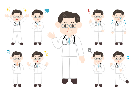 People illustrations set: Doctor, man