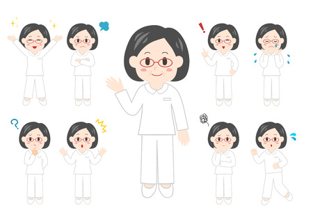 People illustrations set: Health care workers, caregiver, woman  イラスト・ベクター素材