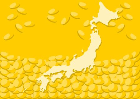 Ilustración de fondo de mapa y dinero japonés Ilustración de vector