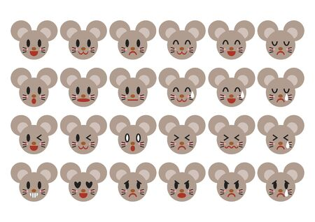 Mouse face icons set. Vector illustration.