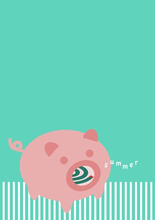 Pig-shaped mosquito coil holder and summer. Vector illustration.