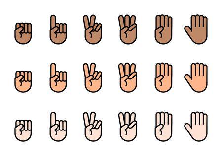 Conjunto de iconos de dedos. Cuente hasta. Ilustración vectorial. Ilustración de vector