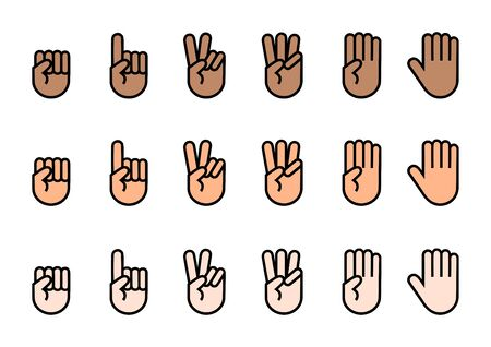 Fingers icons set. Count up to. Vector illustration. Vettoriali