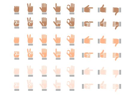 Fingers icons set. Vector illustration.