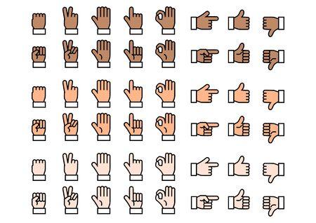 Fingers icons set. Vector illustration.