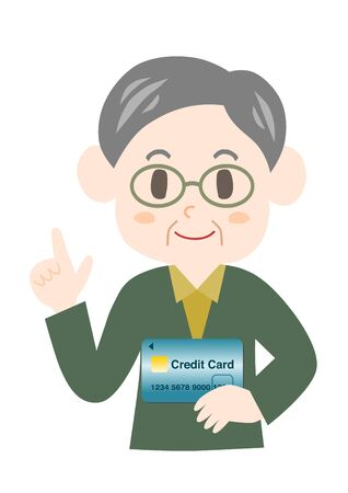 Elderly man with a credit card.
