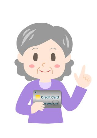 Elderly woman with a credit card.
