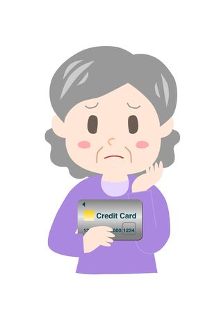 Elderly woman with a credit card. Stok Fotoğraf - 131295756
