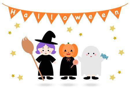 Happy Halloween. Vector illustration. witch, pumpkin, ghost. Illusztráció
