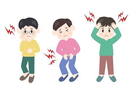 Vector illustration of man. Headache, stomachache, toothache. Illustration