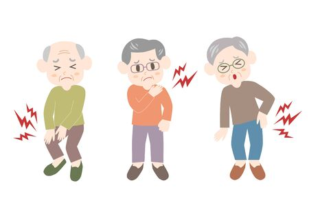 Vector illustration of elderly man. Backache, stiff shoulder, joint pain.
