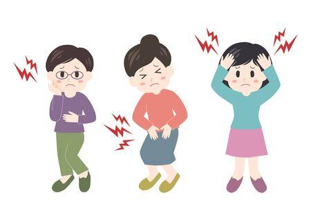 Vector illustration of woman. Headache, stomachache, toothache. Иллюстрация