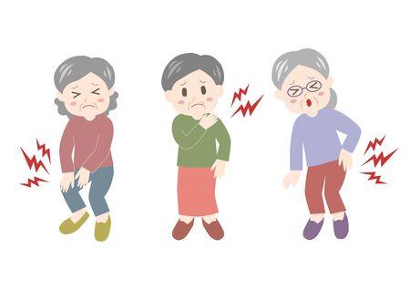 Ilustración de vector de anciana. Dolor de espalda, rigidez en el hombro, dolor en las articulaciones. Ilustración de vector