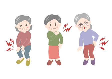 Vector illustration of elderly woman. Backache, stiff shoulder, joint pain.