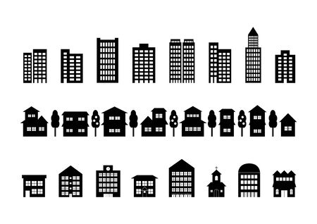 Townscape icons set. Vector illustration.