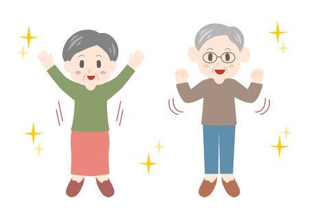 Healthy elderly man and elderly woman. Vector illustration.