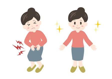 Vector illustration of woman. Trouble of Stomachache.