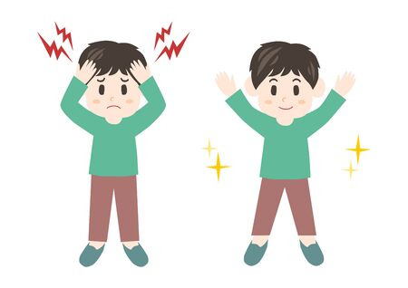 Vector illustration of man. Trouble of Headache.
