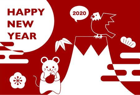 2020 New Year Card. Year of the rat, Year of the mouse. Vector Illustration of Mouse and Japanese Lucky Charm.