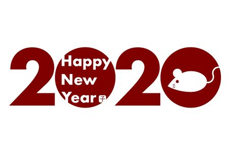 2020 New Year Card. Year of the rat, Year of the mouse. Vector illustration of mouse. Ilustração
