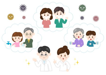 Vector illustration of family. Prevention of Cold.
