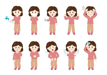Vector illustration of woman. Under the Weather. Take Care of One's Health.