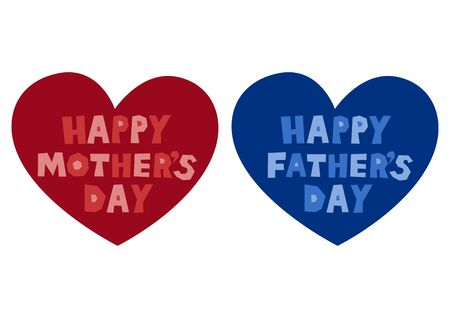 Mother's Day and Father's Day. Vector illustration set. icon. Heart design.