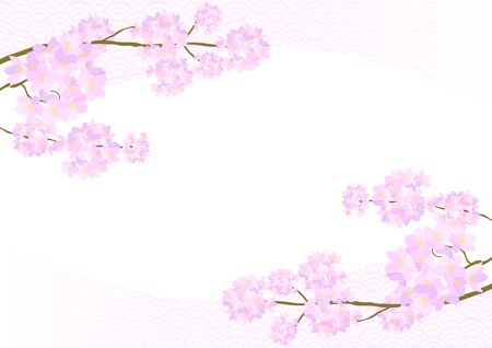 Vector illustration of cherry blossoms. In full bloom and Japanese traditional pattern.