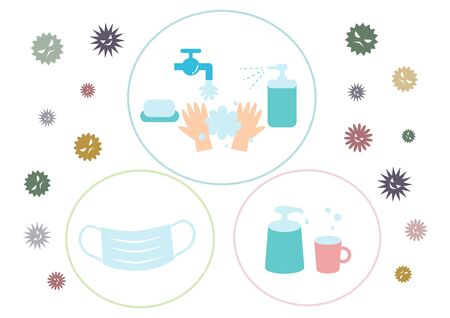 Protection against infectious diseases. Cold Prevention. Preventing Hay Fever. Vector illustration. Illustration