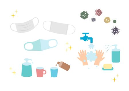 Protection against infectious diseases. Cold Prevention. Preventing Hay Fever. Vector illustration. Icons set.