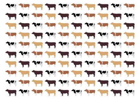 vector of cattle. Ox, cow, bull. Background pattern. Vectores