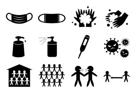 Set of Coronavirus Protection icons. Prevention of viral diseases. Vectores