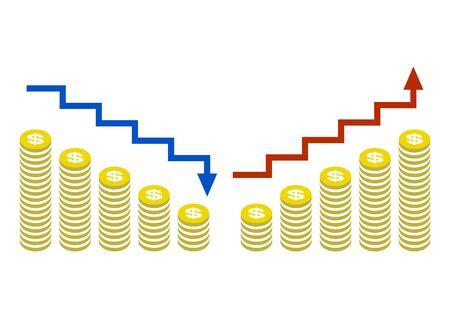 Revenue Increasing icon and money reduction line icon. Dollar. Vector vector. 向量圖像