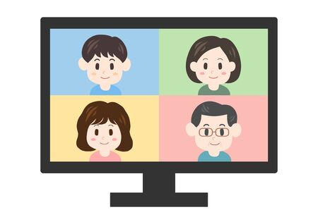 illustration Vector of computer screen. In an online meeting.