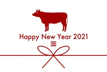 2020 New Year card. Year of the Ox. Vector illustration. White background.
