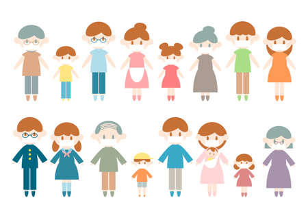Vector Illustration of Many People Wearing a Face Mask for Prevention. Ilustração