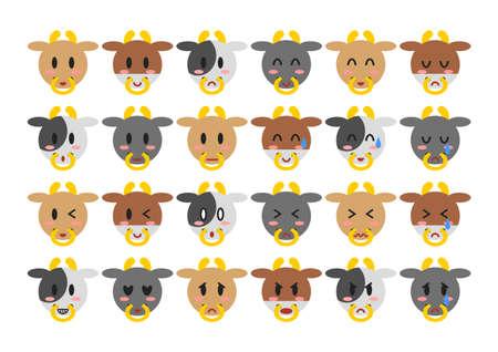 Cattle face icons set. Vector illustration. Vettoriali