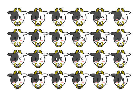 Cattle face icons set. Vector illustration. 向量圖像