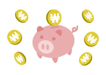 Piggy Bank and coin. Won, South Korean won. Vector illustration.