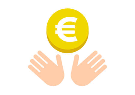 Hands and coin. Euro. Vector illustration. Ilustracja