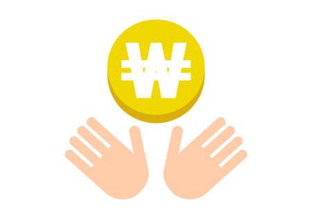 Hands and coin. Won, South Korean won. Vector illustration.