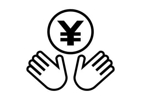 Hands and coin. Japanese yen, Chinese yuan. Vector illustration.