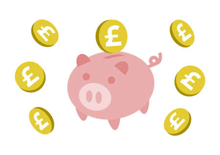 Piggy Bank and coin. Pound. Vector illustration. Ilustracja