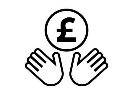 Hands and coin. Pound. Vector illustration. Ilustracja