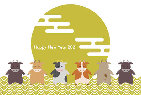 2021 New Year card. Year of the Ox. Vector illustration of cattle and japanese traditional pattern. 向量圖像