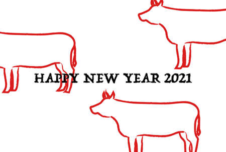 2021 New Year card. Year of the Ox. Vector illustration of cow. Simple design. 向量圖像