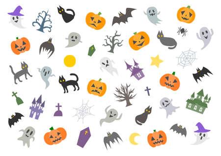 Vector illustration of Halloween. Pumpkin, ghost, bat, black cat. Background pattern. Ilustração