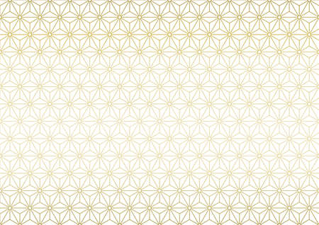 Japanese traditional pattern. Gold color background vector illustration. Vettoriali
