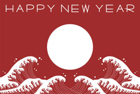 New Year's card. Vector illustration of sun and wave. Red and white simple design. 矢量图像