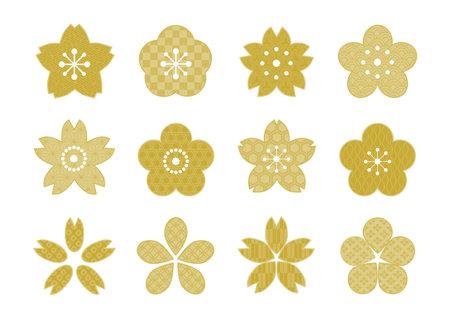 Cherry blossom shape icons set. Japanese traditional pattern design. Vector illustration.